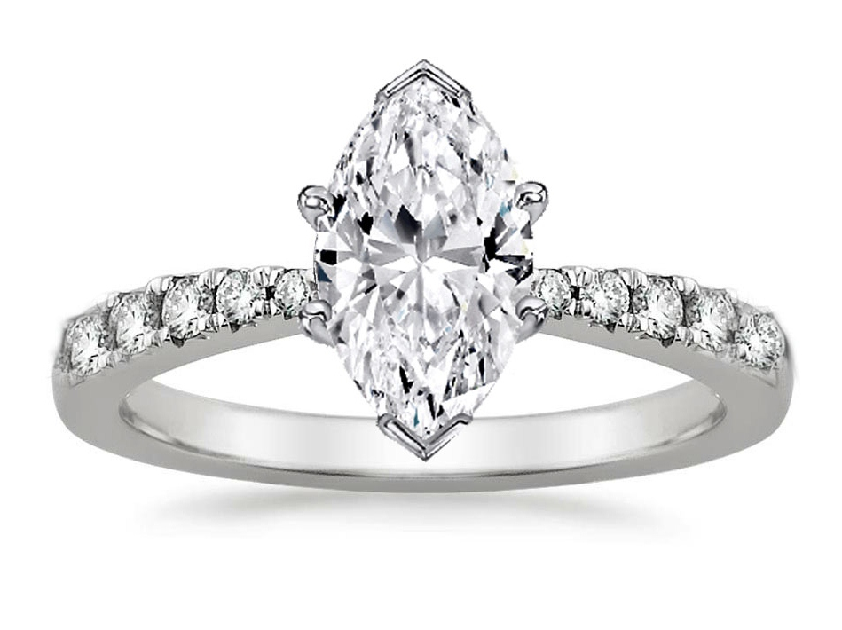Freccia Marquise Diamond Engagement Ring 0.15 tcw in 14K White Gold