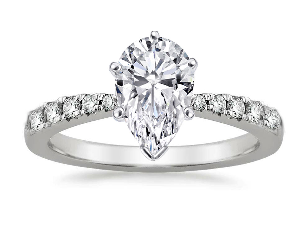 Freccia Pear Shaped Diamond Engagement Ring 0.15 tcw in 14K White Gold