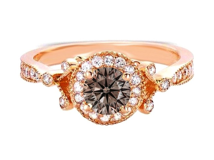 Champagne Diamond Engagement Ring in 14K Rose Gold
