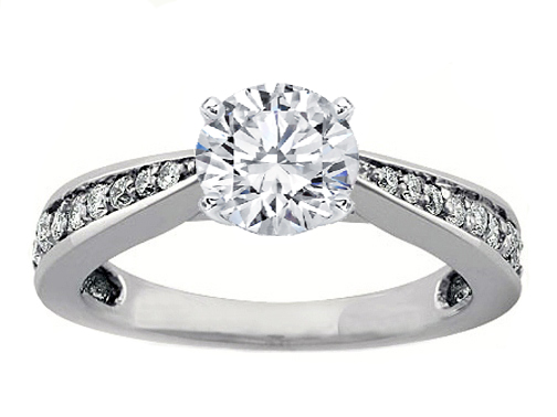 Tapered Cathedral Engagement Ring setting Pave Diamonds 0.3 tcw. In 14K White Gold