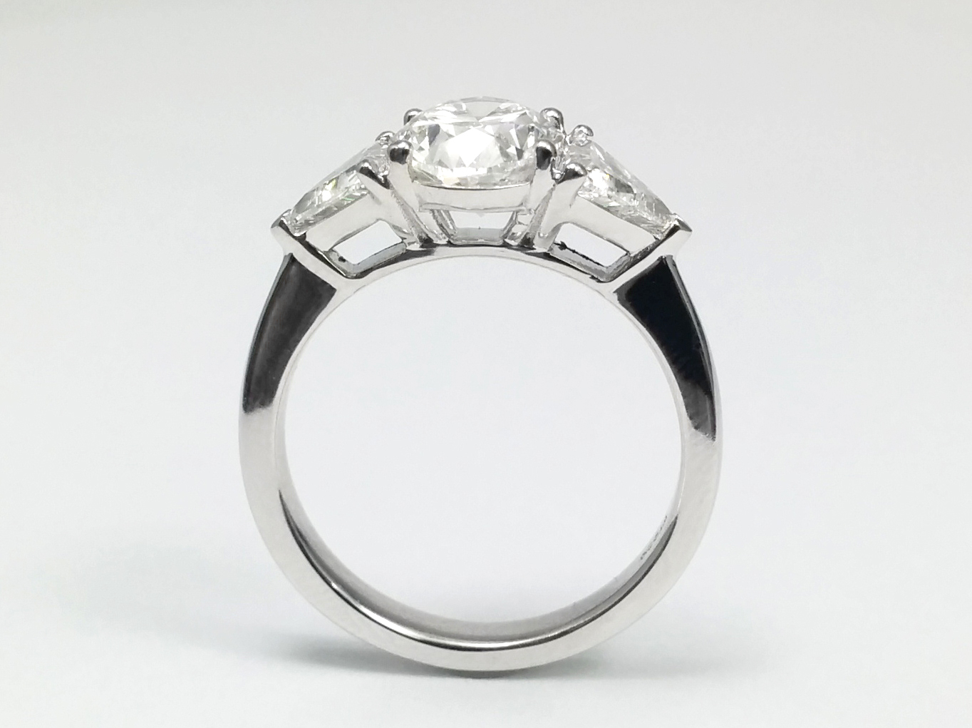 Oval - Trillion Diamond engagement Ring in 14k white gold