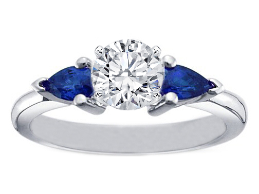 Round Diamond Engagement Ring with Pear Shape Blue Sapphires in 950 Platinum