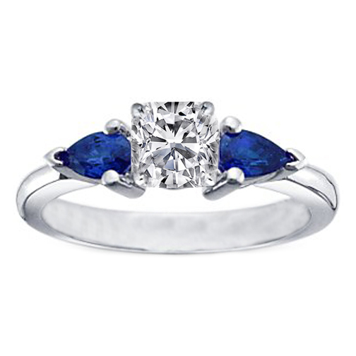 Cushion Diamond Engagement Ring with Pear Shape Blue Sapphires