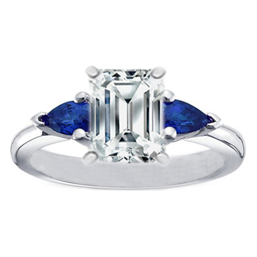 Emerald Cut Diamond Engagement Ring with Pear Shape Blue Sapphires