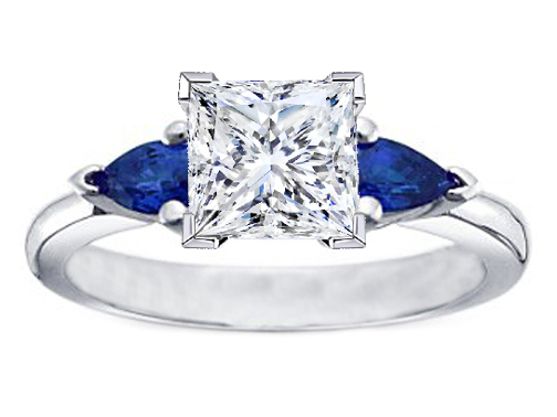 Princess Diamond Engagement Ring with Pear Shape Blue Sapphires