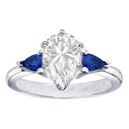 Pear Diamond Engagement Ring with Pear Shape Blue Sapphires side stones 1 carat tw.