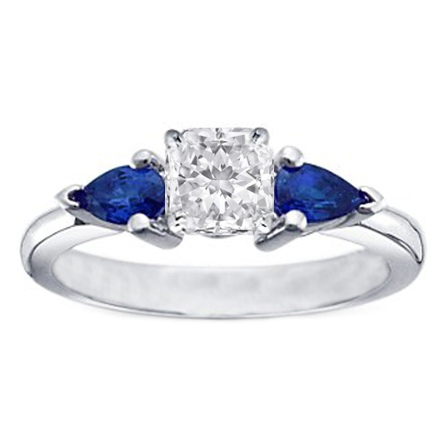 Radiant Diamond Engagement Ring with Pear Shape Blue Sapphires