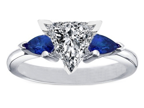 Trillion Diamond Engagement Ring with Pear Shape Blue Sapphires