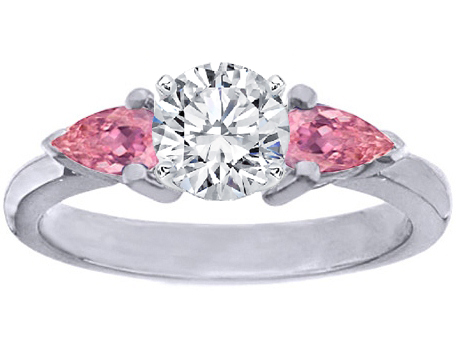Diamond Engagement Ring setting with Pear-Shape Pink Sapphires side stones 0.4 tcw. In 14K White Gold