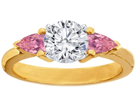 14K Yellow Gold Diamond Engagement Ring Pear-Shape Pink Sapphires side stones