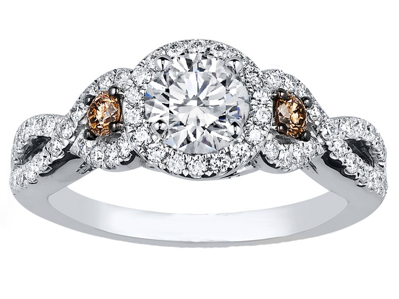 infinity halo chocolate diamonds engagement ring in 14k white gold - Chocolate Diamond Wedding Rings