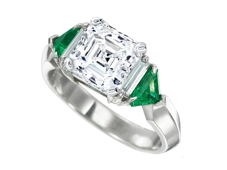 Asscher -Baguette Diamond Engagement Ring with Trillion Emeralds