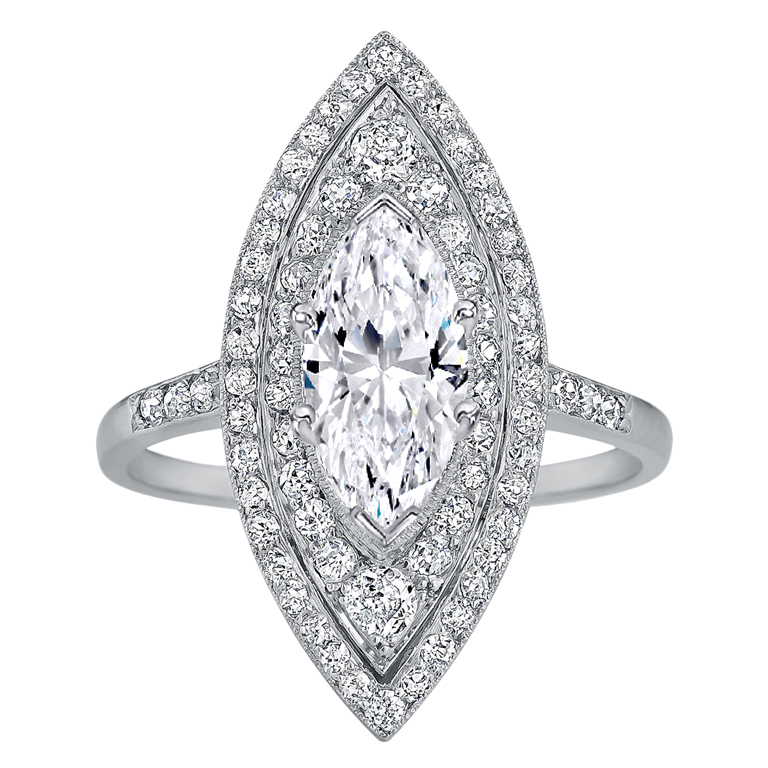Double Halo Marquise  Diamond Engagement Ring in 14K White Gold
