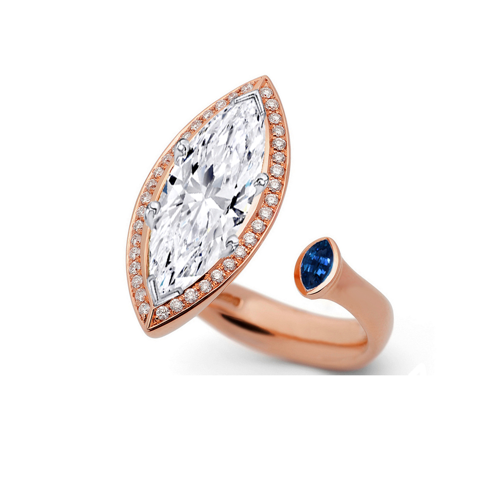 Open Ring Marquise Halo Diamond Engagement Ring in 14K Rose Gold