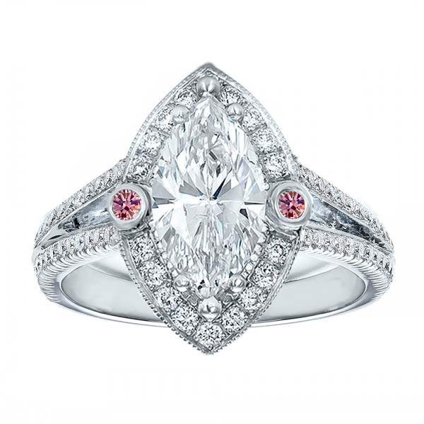Marquise Diamond Halo Pink Eyes Engagement Ring in 14K White Gold