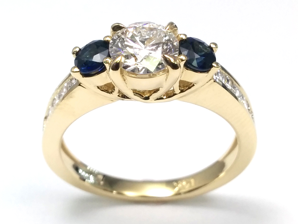 Engagement Ring Three Stone Diamond Amp Sapphire Engagement