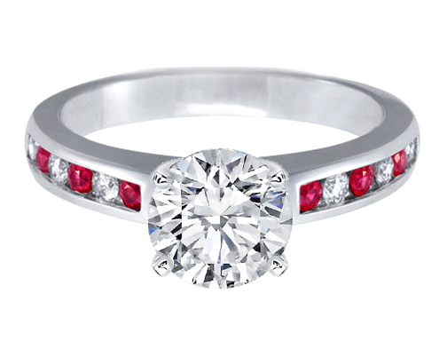 Alternating Diamonds & Rubies Engagement Ring  0.4 tcw. In 14K White Gold