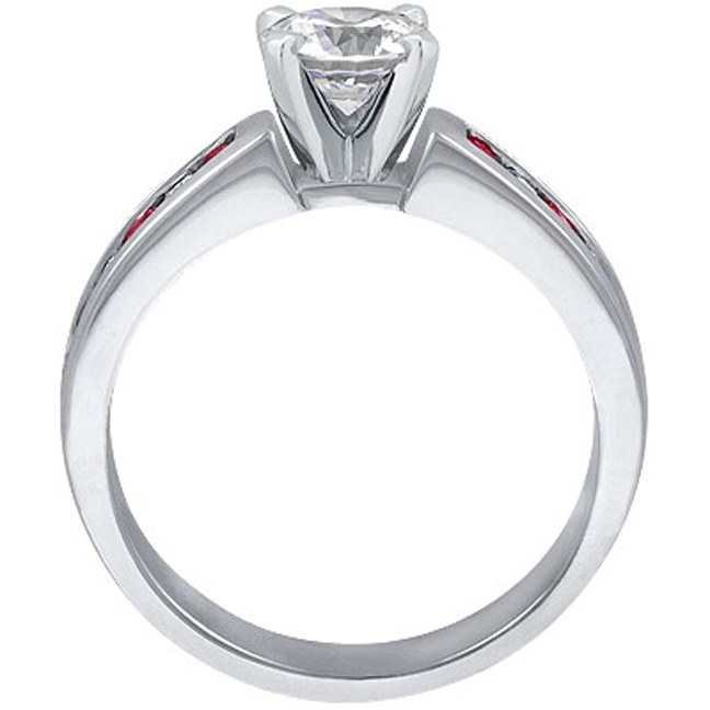 Alternating Ruby and Diamond Channel Set Engagement Ring