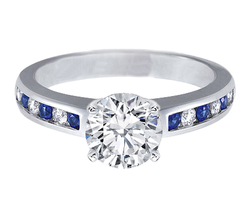 Diamond & Sapphires Engagement Ring 0.4 tcw. In 14K White Gold