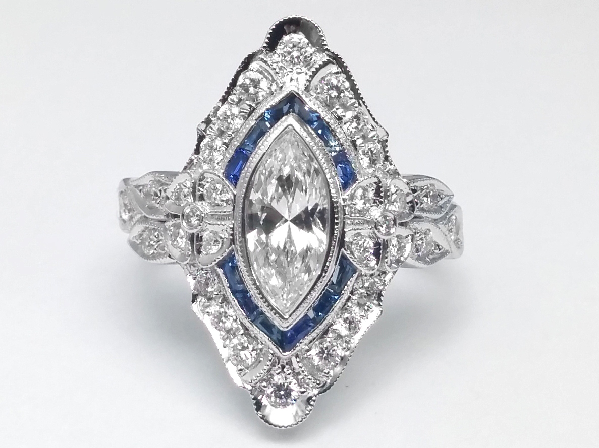 Art Deco Marquise Diamond Engagement Ring