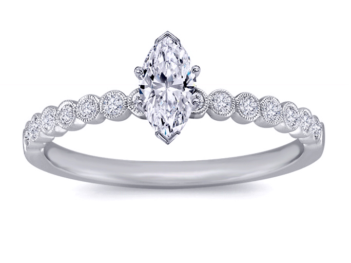 Petite Marquise Diamond Engagement Ring 14 Stone Vintage Diamond Band in 14K White Gold