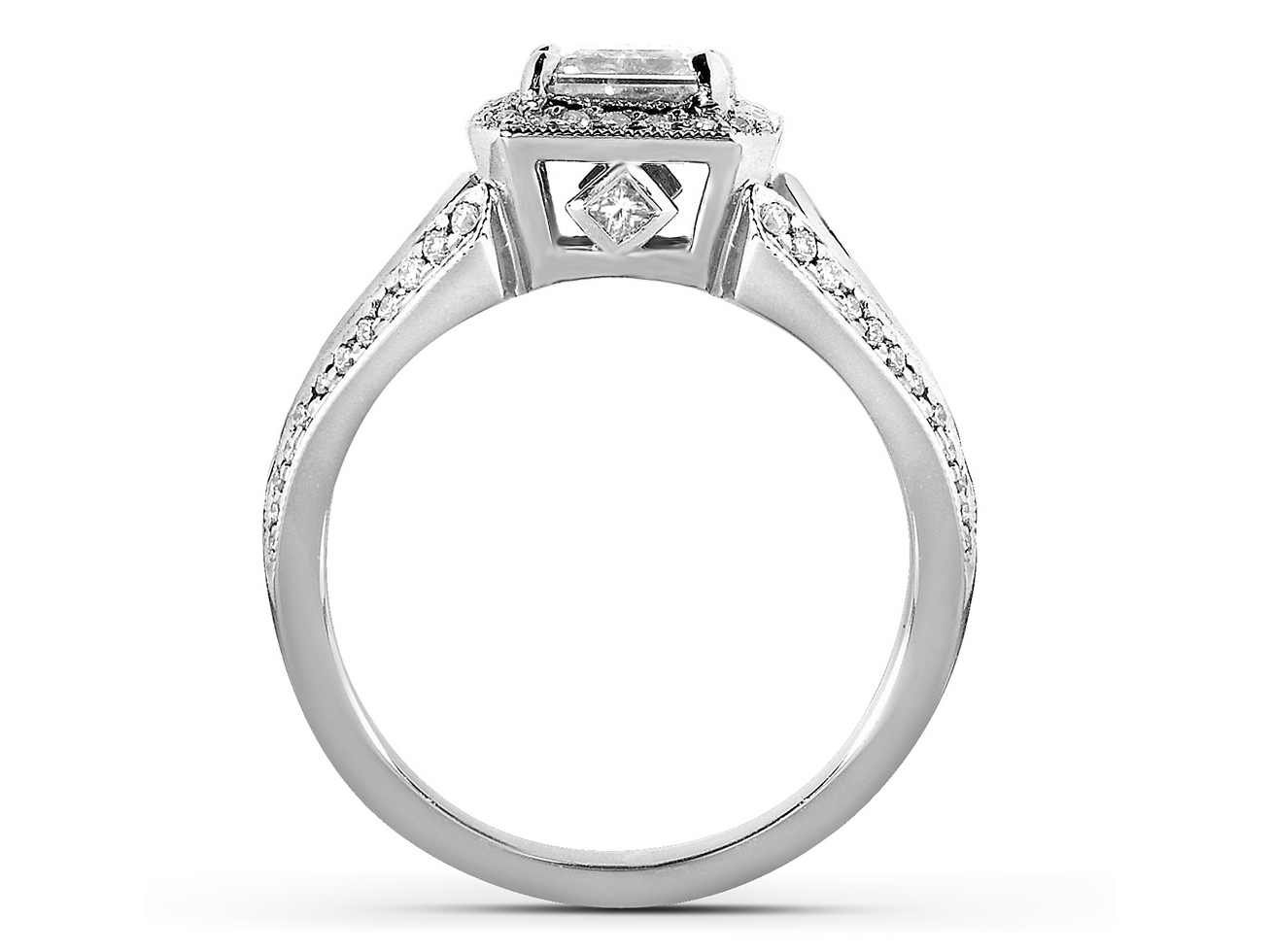 Asscher Cut Diamond Halo Engagement Ring with Kite Shaped Accents
