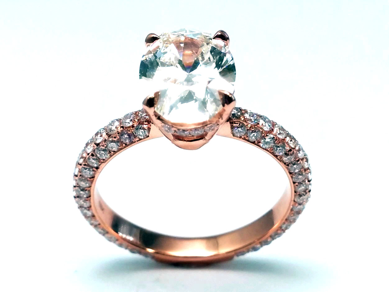 Oval Diamond Engagement Ring in 14k Rose/Pink Gold