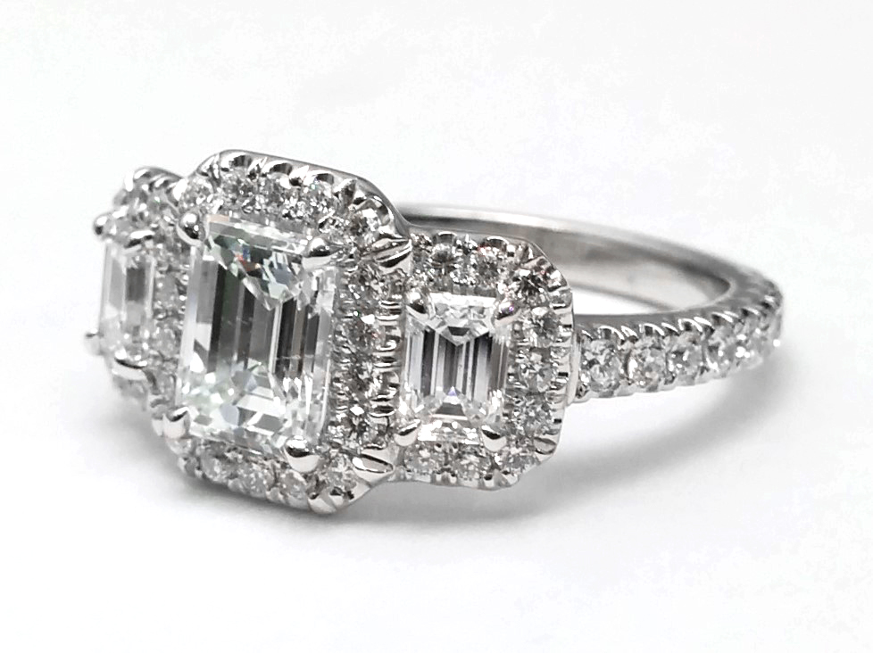 Three Stone Halo Engagement Ring in 14k White Gold