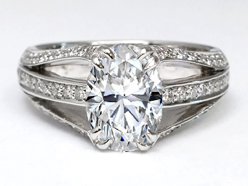 Three Row Pave Oval Diamond Engagement Ring in 14k White Gold