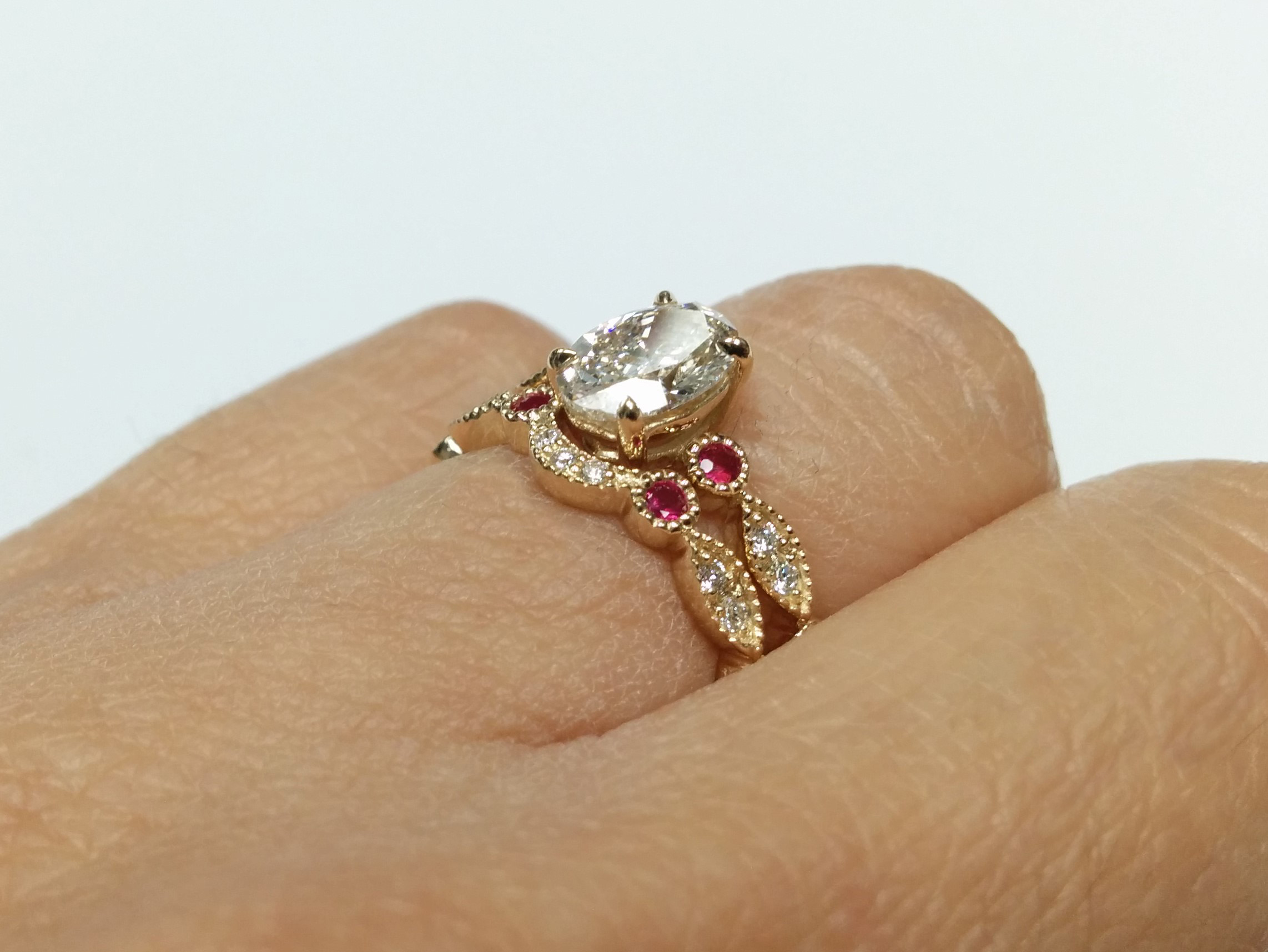 baguette with accent diamond ring rings engagement ruby sides