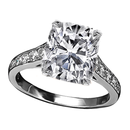 Cushion Diamond Cathedral Engagement Ring with channel set round diamonds 0.21 tcw. In 14K White Gold