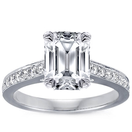 Emerald Cut Diamond Cathedral Engagement Ring with channel set round diamonds 0.4 tcw. In 14K White Gold