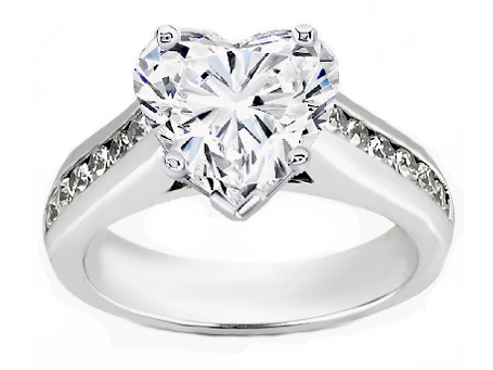 Heart Shape Diamond Cathedral Engagement Ring with Channel Set Round Diamonds 0.18 tcw. In 14K White Gold