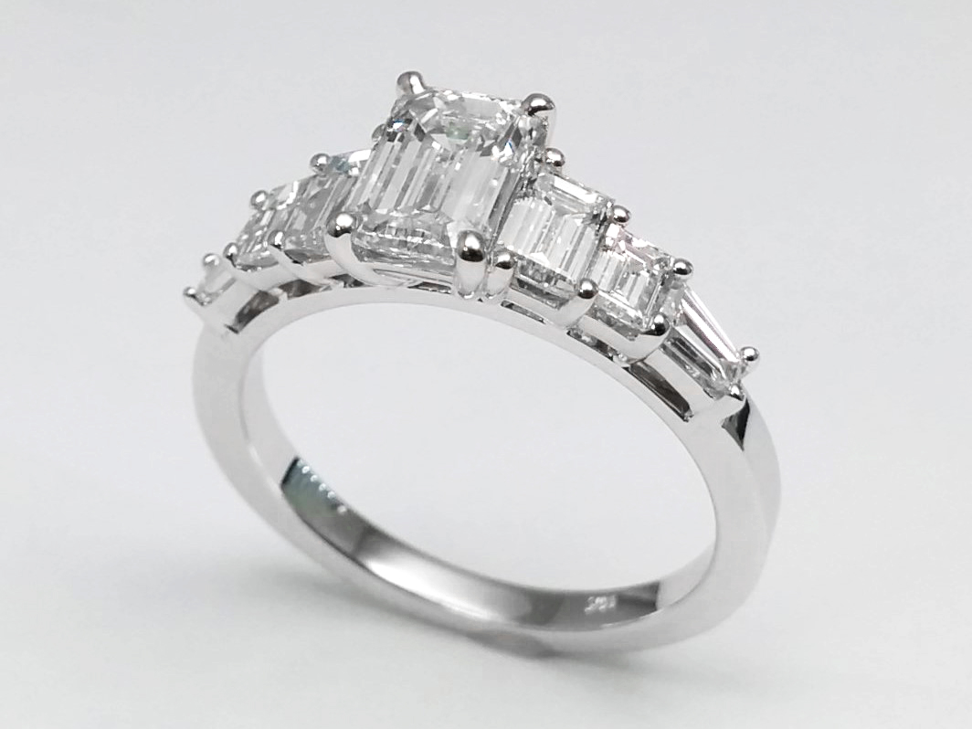 Seven Stone Emerald-Baguette Cut Diamond Engagement Ring in 14k White Gold