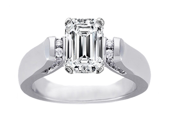 Emerald Cut Diamond Cathedral Engagement Ring with Channel-Set Diamond accents 0.2 tcw. In 14K White Gold