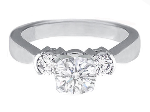 Diamond Engagement Ring setting Two Round side diamonds Semi-Bezel 0.30 tcw. In 14K White Gold