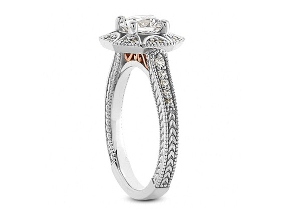 Diamond Star Halo Engagement Ring in 14k White Gold