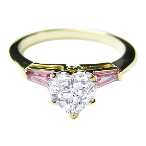 Heart Diamond Engagement Ring Baguette Pink Sapphire sides 0.50 tcw. 14K Yellow Gold