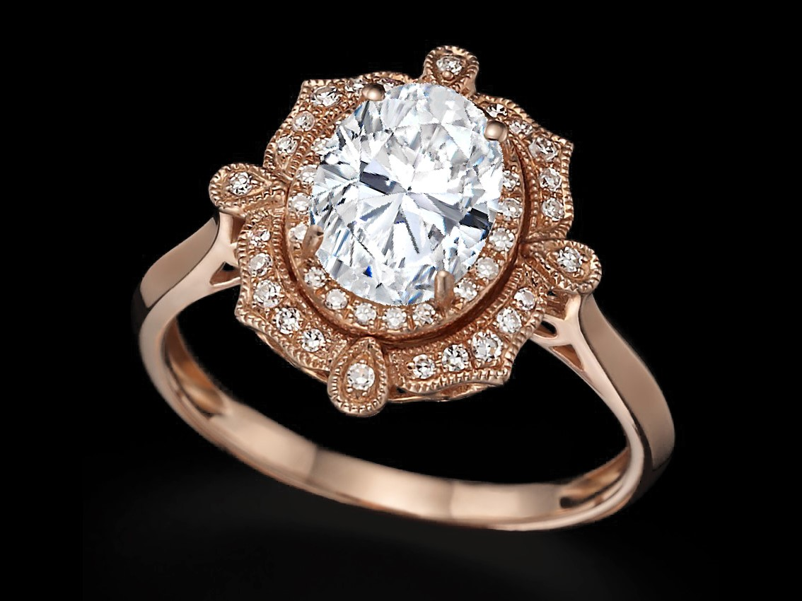Vintage Oval Double Halo Engagement Ring in 14k Rose Gold
