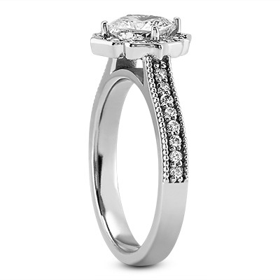Vintage Style Floral Cathedral Engagement Ring for a Cushion Diamond