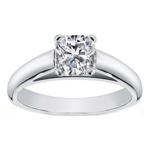 Cushion Diamond Cathedral Solitaire Engagement Ring in 14K White Gold