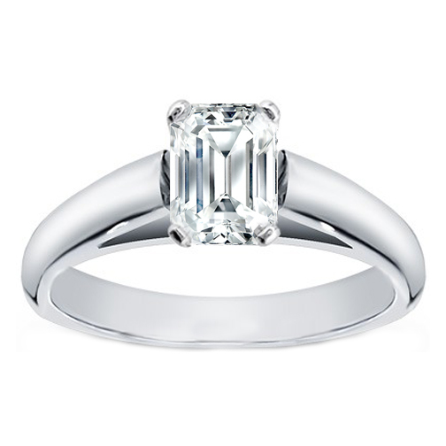 Emerald Cut Diamond Cathedral Solitaire Engagement Ring in 14K White Gold
