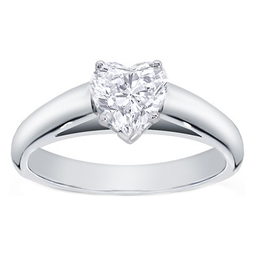 Engagement Ring -Heart Shape Diamond Cathedral Solitaire Engagement Ring in  14K White Gold-ES147HS