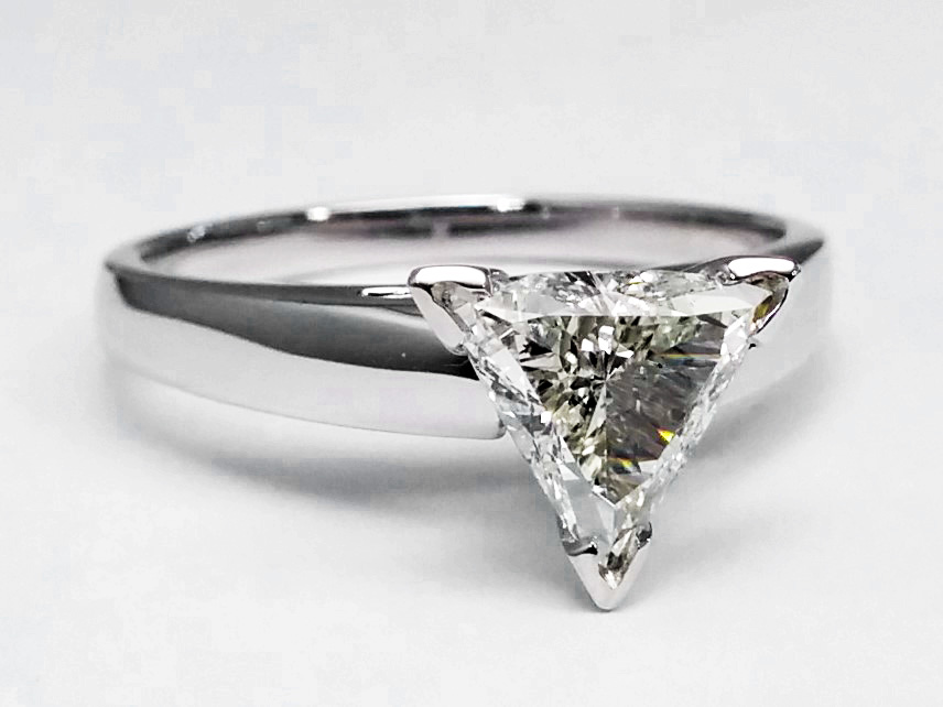 Trillion Diamond Cathedral Solitaire Engagement Ring