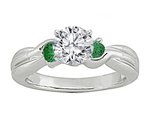 Swirl Diamond Engagement Ring Green Emerald side stones 0.20 tcw. In 14K White Gold