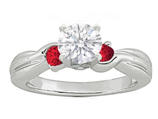 Swirl Diamond Engagement Ring setting with two Round Red Rubies side stones 0.20 tcw. In 14K White Gold