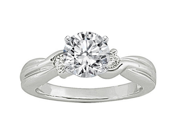 Swirl Engagement Ring setting with two Round Diamonds side stones 0.20 tcw. In 14K White Gold