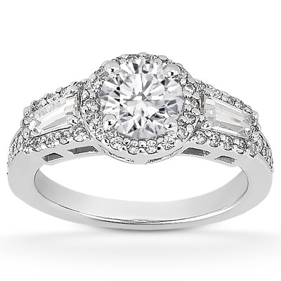 Halo Baguette Diamond Ring for a Round Center