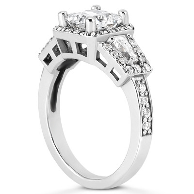 Halo Baguette Diamond Ring for a Princess Center