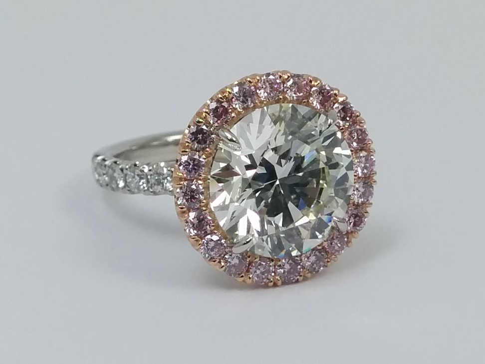 Pink Diamond Halo Engagement Ring for Large Round Diamonds
